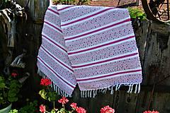 Úžitkový textil - Tkaný koberec bielo-ružovo-modrý  kratší - 10872323_