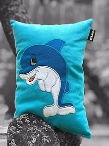 Textil - vankúšik- spinkáčik - delfín - 10877444_