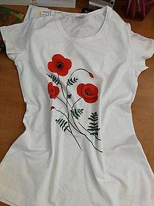 Tričká - Ručne maľované tričko Vlčie maky (citrónová) - 10876281_