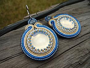 Náušnice - Soutache náušnice Opal Blue&Gold - 10878272_
