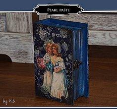 Krabičky - Modrá krabica v tvare knihy - 10875722_