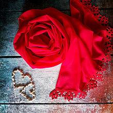 Šály - Dva na lásku - červený šifónový šál s čipkou - 10876251_