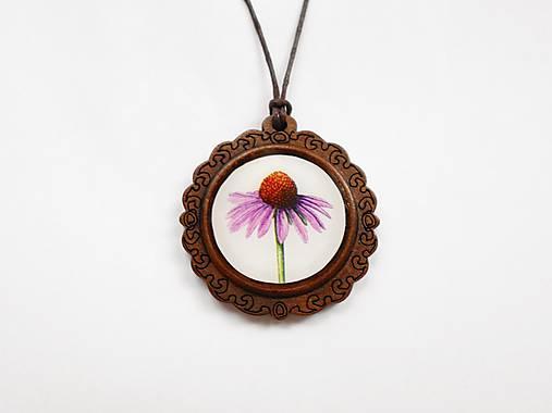 Drevený živicový náhrdelník - Echinacea