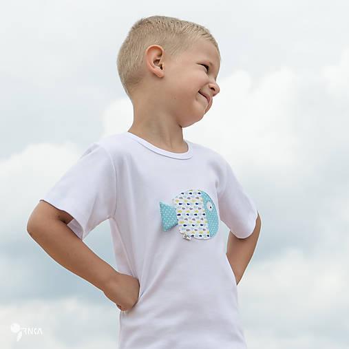 tričko RYBKA TYRKYSOVÁ 86 - 134 (dlhý aj krátky rukáv)