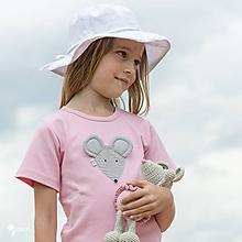 Detské oblečenie - ružové tričko MYŠKA PÁSIKOVÁ 86 - 134 (dlhý aj krátky rukáv) - 10876554_