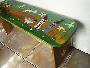 Nábytok - Maľovaná lavička - 10875387_