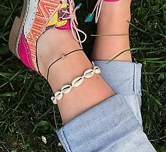 Náramky - VÝPREDAJ - náramok na nohu s mušľami - 10875935_