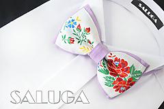 Detské doplnky - Folklórny detský fialový motýlik - folkový - ľudový - 10876874_
