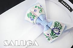 Detské doplnky - Detský folklórny motýlik - svetlo-modrý - 10876885_