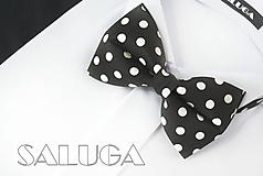 Detské doplnky - Čierny detský motýlik na biele bodky - guľky - 10876980_