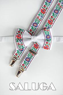 Doplnky - Folklórny, ľudový pánsky motýlik + traky, biely krojový - 10876795_