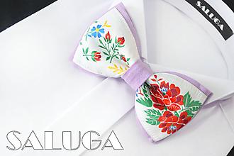 Doplnky - Pánsky folklórny motýlik - svetlo fialový - ľudový - 10876875_