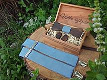 Doplnky - Pánsky drevený motýlik, manžetové gombíky a traky - 10876953_