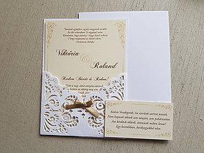 Papiernictvo - Svadobné oznámenie romantická čipka 2 - 10875195_