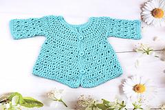 Detské oblečenie - Tyrkysový svetrík pre novorodenca EXTRA FINE - 10875948_