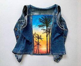 "Kabáty - Maľovaná vesta ""Hawaii"" (denim) - 10875291_"