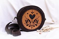 Kabelky - Hačkovano - drevená kabelka (Srdce) - 10877344_