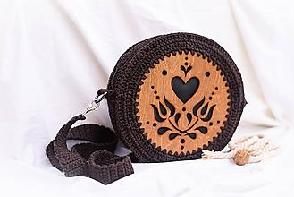 Kabelky - Hačkovano - drevená kabelka (Srdce) - 10877343_
