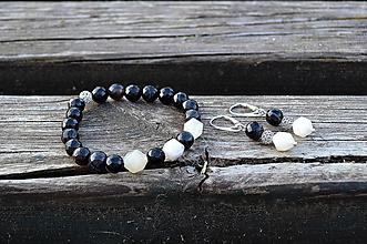 Sady šperkov - Náramok a náušnice Achát a Mesačný kameň - 10875266_