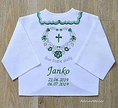 Detské doplnky - košieľka na krst -folk (zeleno sivá) - 10876905_