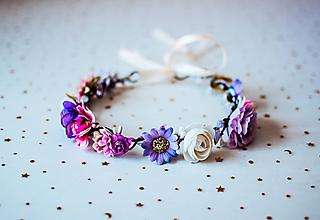 Ozdoby do vlasov - Pestrofarebný letný kvetinový venček - VÝPREDAJ - 10875057_