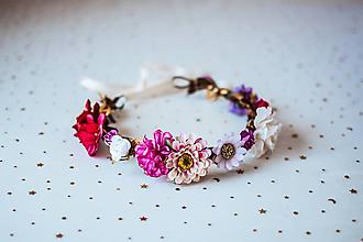 Ozdoby do vlasov - Pestrofarebný letný kvetinový venček - VÝPREDAJ - 10875064_
