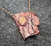 Náhrdelníky - Pokovaná kôra stromu s labradoritom*prívesok - 10875046_