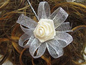 Ozdoby do vlasov - sponka s mašličkou a ružičkou - 10876789_
