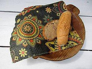Úžitkový textil - voskovaný obrúsok-mandala na šedej - 10876659_