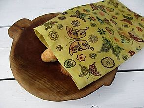 Úžitkový textil - veľké voskované vrecko-motýľ - 10876846_