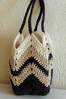"""Veľké tašky - Handmade háčkovaná kabelka shopperka z trikotážnej priadze """"farby zeme"""" - 10878183_"""