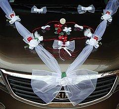 Dekorácie - Svadobná výzdoba na auto-bordová - 10876633_