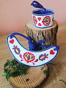 Náhrdelníky - Folklórny náhrdelník farebný (modrý) - 10877226_