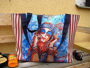 Veľké tašky - Plážová (oversized) taška - Hippie girl - sleva z 35eur - 10876181_