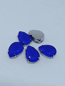 Komponenty - Sklenený kabošon 13 x 18 v lôžku (Modrá) - 10876384_