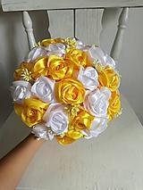 Kytice pre nevestu - Žlté saténové ruže - 10878065_