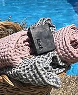 Úžitkový textil - Vaflová ľanová osuška (Modrá) - 10877173_