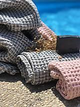 Úžitkový textil - Vaflová ľanová osuška (Modrá) - 10877175_