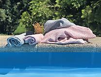 Úžitkový textil - Vaflový ľanový uterák (90x55 - Modrá) - 10877178_