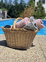 Úžitkový textil - Vaflový ľanový uterák (90x55 - Modrá) - 10877183_