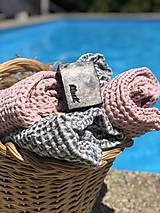 Úžitkový textil - Vaflový ľanový uterák (90x55 - Modrá) - 10877184_
