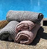 Úžitkový textil - Vaflový ľanový uterák (90x55 - Modrá) - 10877185_