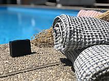 Úžitkový textil - Vaflový ľanový uterák (90x55 - Modrá) - 10877191_