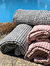 Úžitkový textil - Vaflový ľanový uterák (90x55 - Modrá) - 10877192_