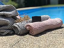 Úžitkový textil - Vaflový ľanový uterák (90x55 - Modrá) - 10877200_