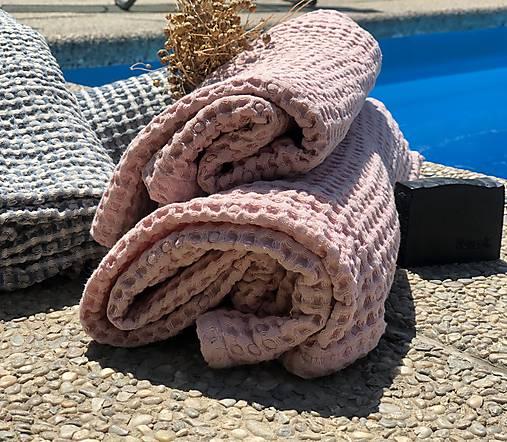 Vaflový ľanový uterák (90x55 - Modrá)