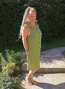Šaty - ľanové šaty na gombíky - 10875854_