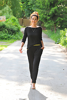 Nohavice - Kalhoty ze 100% bambusu, zlatý lem - 10875414_