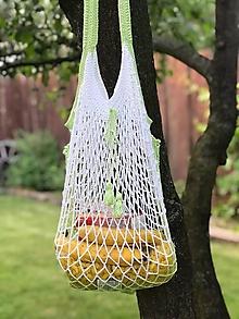 Iné tašky - sieťovka háčkovaná /bielo-zelenkavá - 10877048_
