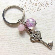 Kľúčenky - Rose Quartz Key Keychain / Kľúčenka s príveskami - 10879268_